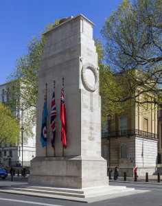 The Cenotaph in Whitehall, London, designed by Sir Edwin Lutyens. The original was built by Holland, Hannen and Cubitts (Photograph by Godot13, Wikimedia licensed under Creative Commons)