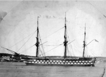 HMS Ganges (which spent many years in South America and, as here, off British Columbia before becoming a training ship)