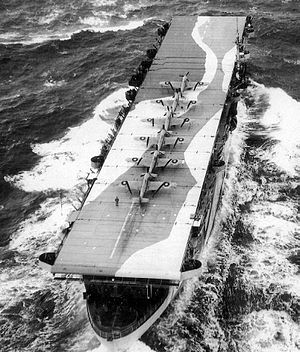 HMS Avenger with ... on deck... credit