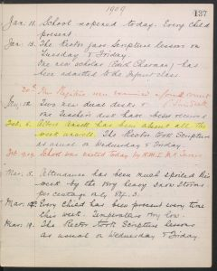 Albert's 1909 entry from St Barnabas School logbook (image copyright Surrey History Centre, reproduced with kind permission of Find My Past (http://www.findmypast.co.uk)