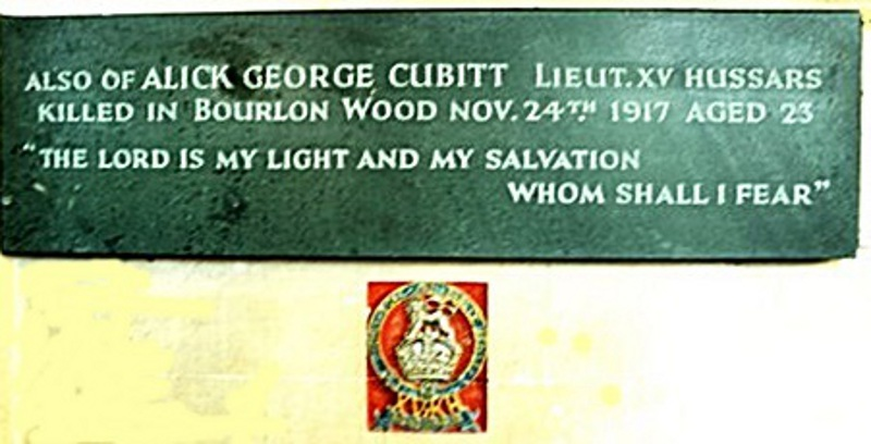 Alick's commemorative plaque and regimental badge in the Cubitt Chapel (Brian Belton)