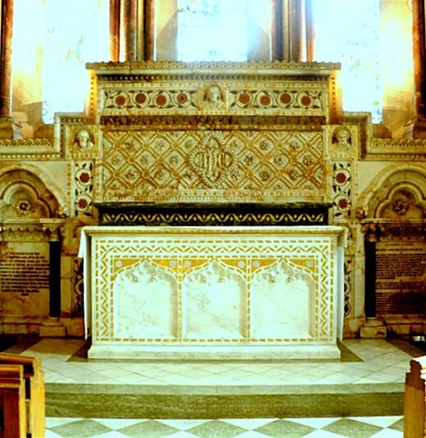 The spectacularly decorated reredos and altar in memory of Laura, Lady Ashcombe (Brian Belton)