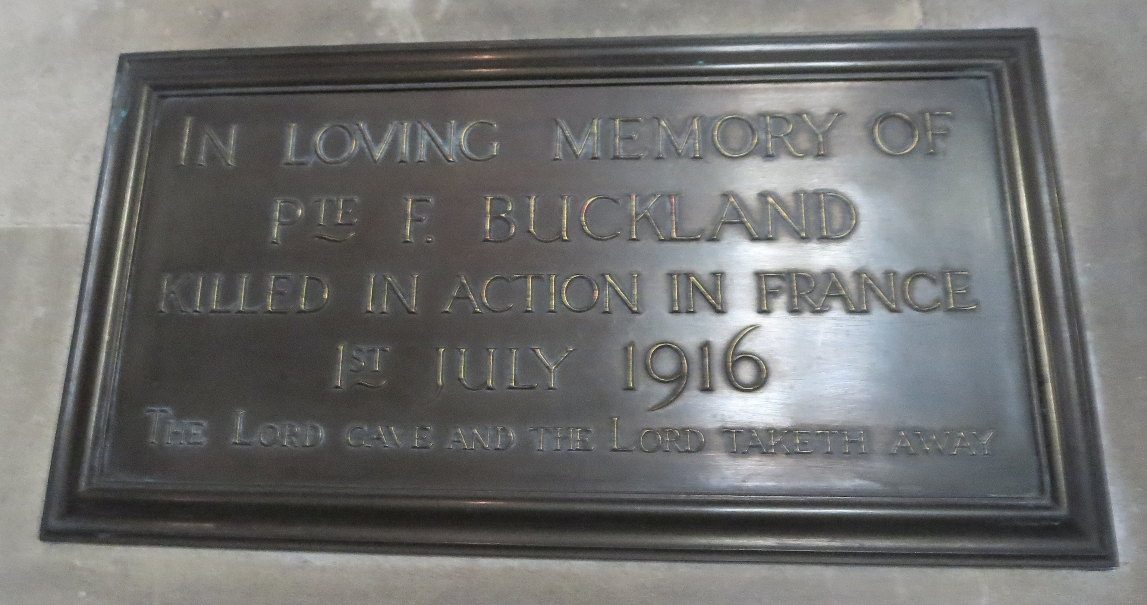 The family's memorial to Private Frederick Buckland in St Barnabas Church