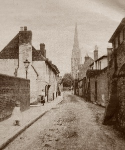 Church Street, Dorking, about 1900. with St Martin's Church in the background