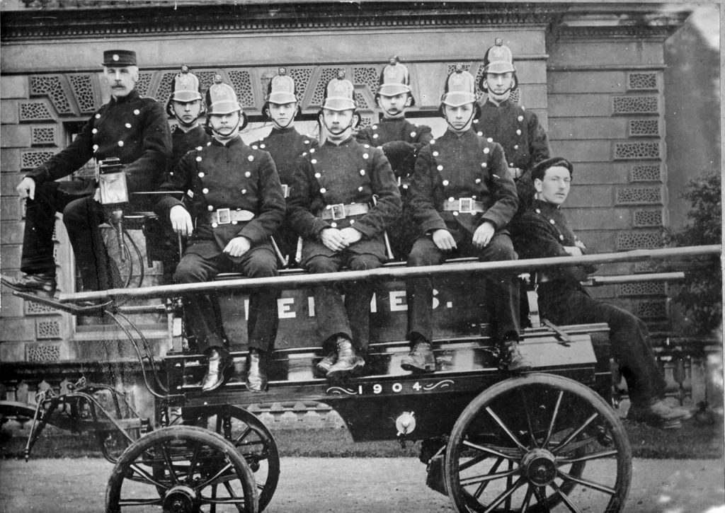 Denbies fire engine and crew in 1904 (Dorking Museum). One wonders how many of these men fought, and maybe died,