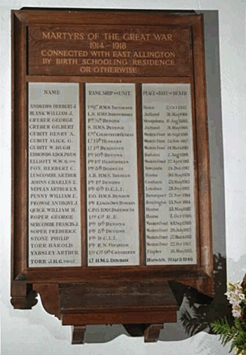 The East Allington War Memorial (photograph courtesy of Richard J. Brine, Devon Heritage)