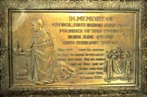 Plaque in the chancel showing George Cubitt, 1st Baron Ashcombe, offering to God his creation, the Church of St Barnabas (Brian Belton)