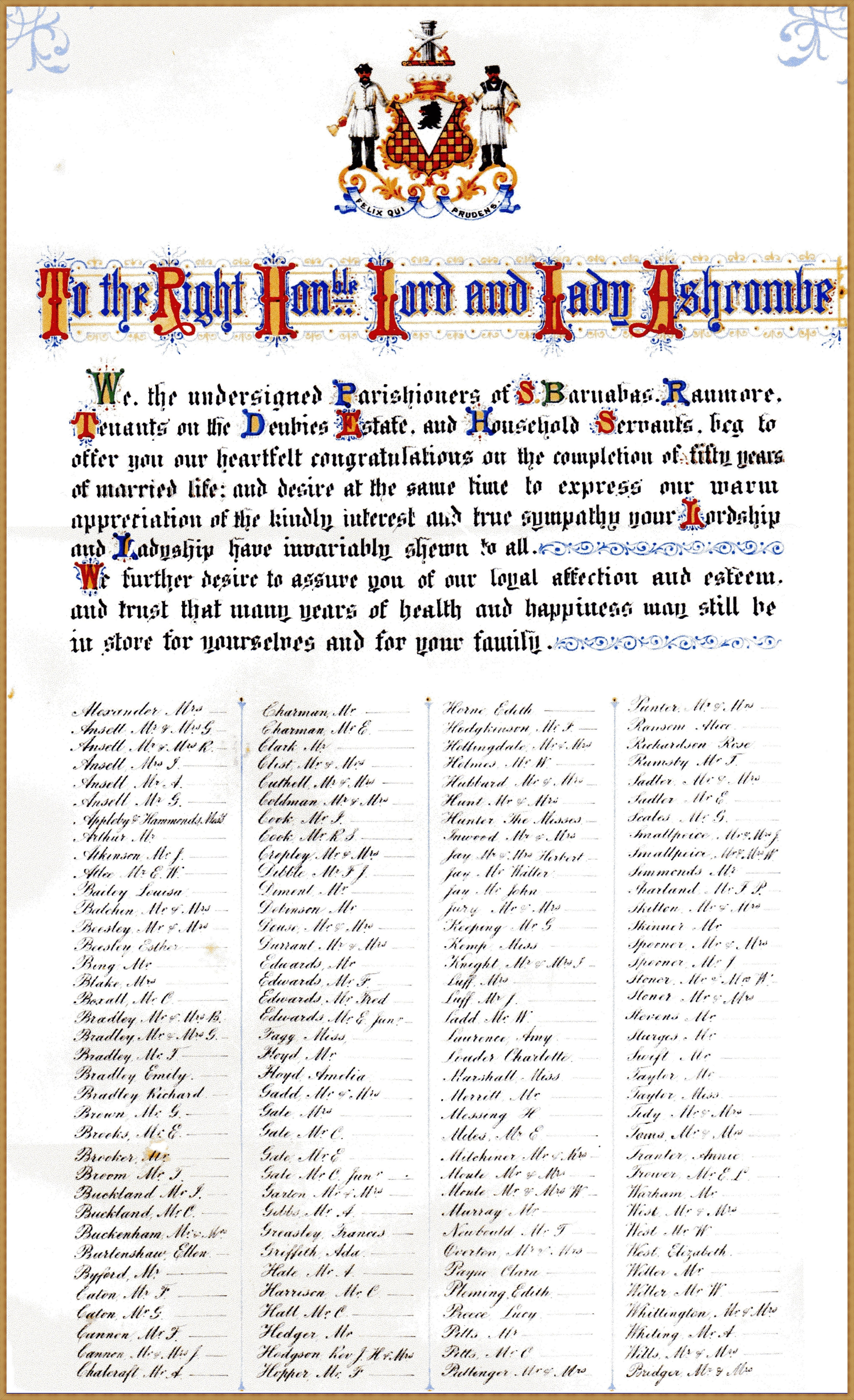 Illuminated scroll presented to George and Laura Cubitt, on the occasion of their Golden Wedding