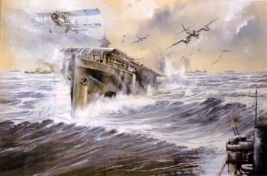 Painting of HMS Avenger by .D.A.Rapkins, owned by Janet Ansell whose copyright it is