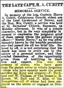 "Cutting from the ""Surrey Mirror"" of 25.9.1916 (reproduced by permission of Surrey History Centre. Copyright of Surrey History Centre)."