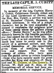"Cutting from the ""Surrey Mirror"" of 25.9.1916 mentioning William Thomas ? copyright."