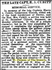 """Cutting from the """"Surrey Mirror"""" of 25.9.1916 mentioning William Thomas ? copyright."""