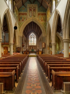 Interior of St Martin's Dorking where Edith Annie was baptised and where she married George Gale (Geograph, copyright David Dixon)