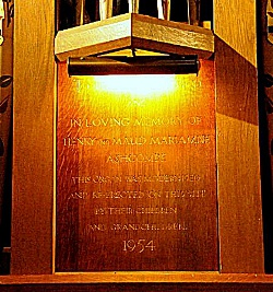 The commemorative plaque to Henry and Maud, 2nd Lord and Lady Ashcombe on the refurbished organ (Brian Belton)