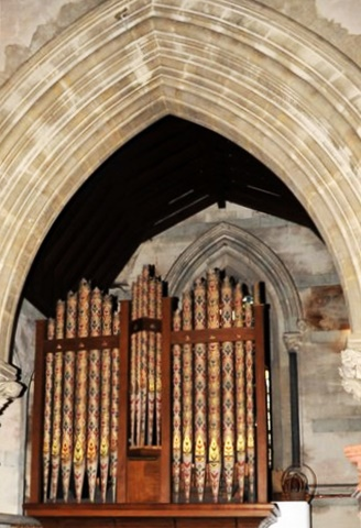 The Walker organ of 1859, with its highly decorated pipes (Brian Belton)