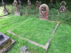 George Ansell's grave is in the top right hand corner of the photograph. The double grave in front is that of his grandparents Richard and Jane Ansell.