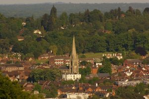 Seen from Denbies Hillside, St Martin's Dorking where Elizabeth Martha was baptised and where she married George Ansell (Geograph, copyright