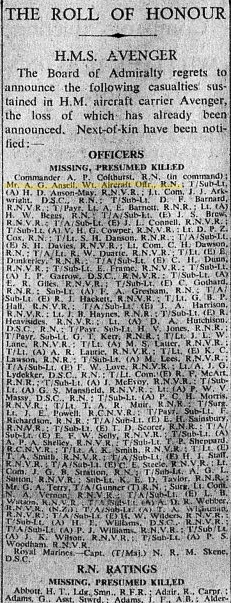 "Part of the casualty list from ""The Times"" of 29th January, 1942"