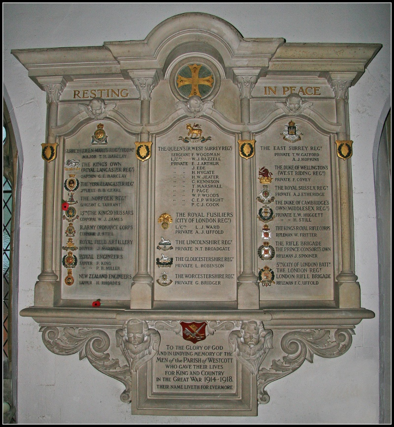 Westcott War Memorial in Holy Trinity Church. Frank's name is top of the central column, his school friend George Tarrant the fourth name down in column 1. Tarrant fought with the Norfolk Regiment and won the Military Medal (photograph Andy Bailey)