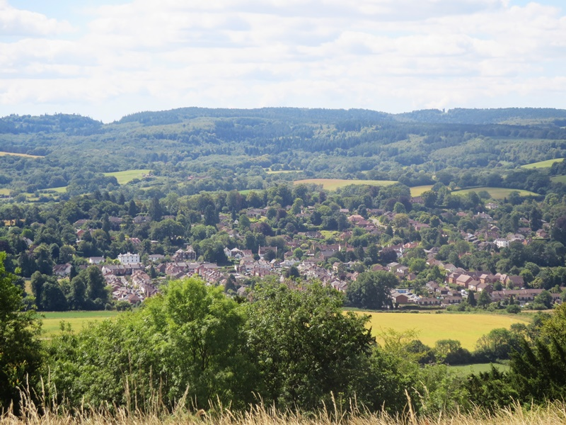 View from Denbies Hillside today, across the village of Westcott to Leith Hill and its conspicuous Tower