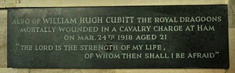 "The commemorative plaque to William Hugh in the Cubitt Chapel. The Bible quotation is the second half of Psalm 27, verse 1. The first half of the verse """"The Lord is my Light and my Salvation, whom shall I fear"" is inscribed on the adjacetnt memorial to Hugh's older brother Alick George (photograph Brian Belton)."