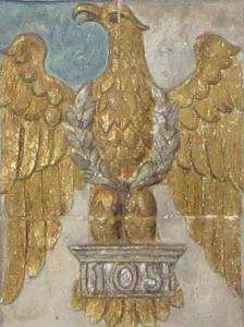The badge of the Royal Dragoons in the Cubitt Chapel. The eagle recalls the regiment's capture at Waterloo of the Eagle standard of the Napoleon's 105th Infantry Regiment (Brian Belton)