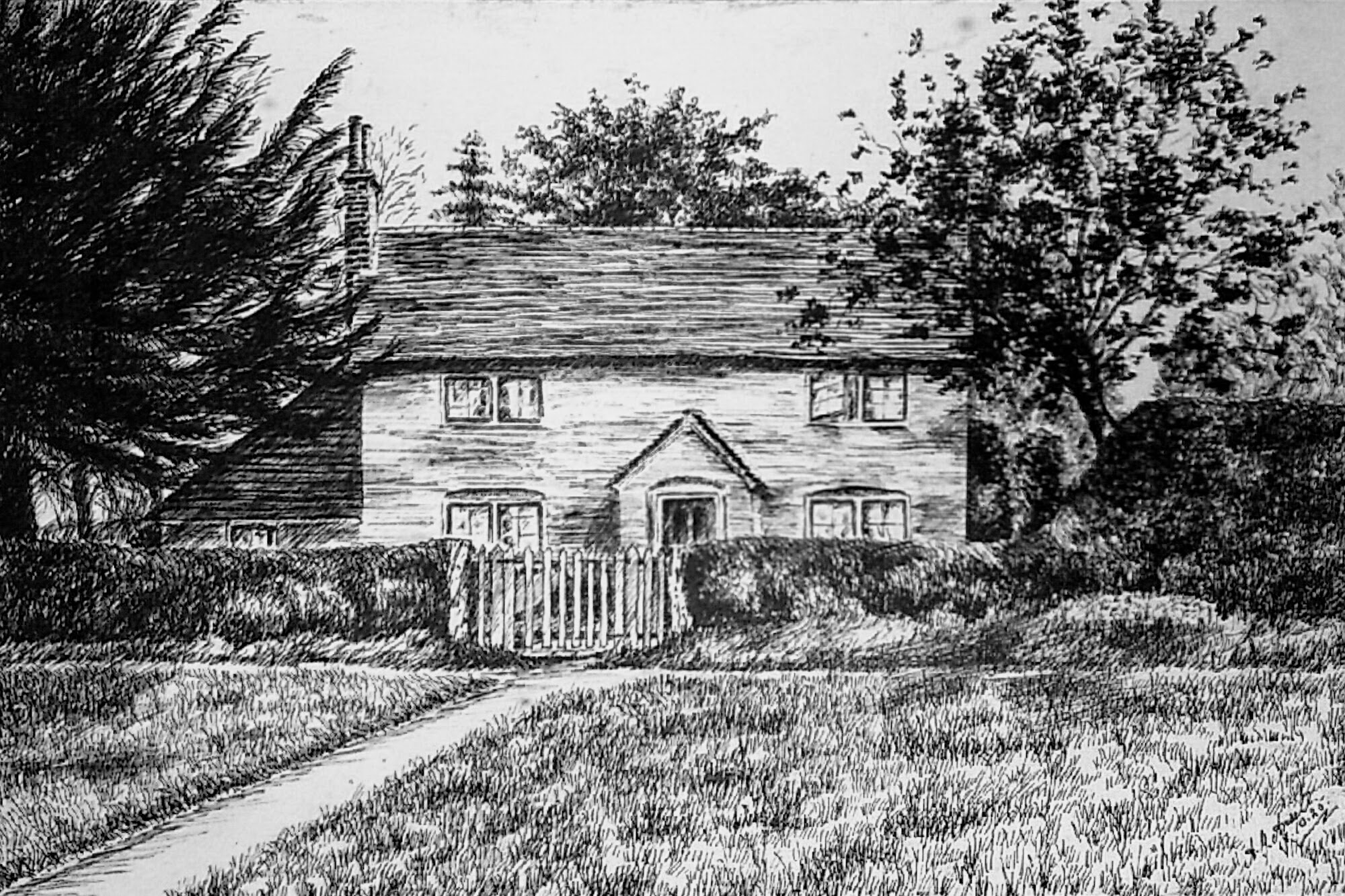 """Yew Tree Cottage, drawn by Albert himself and entitled """"Home Sweet Home"""" Copyright the Ansell f"""