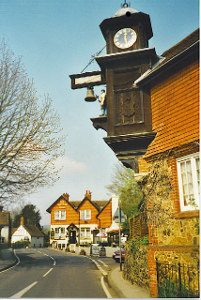 "The village of Abinger Hammer, with the ""Abinger Arms"" in the background, Geograph, Colin Smith"