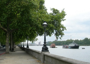 Chelsea Embnkment between the River Thames and Battersea Park today (Geograph, copyright Danny P Robinson)