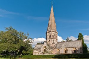 The strikingly tall spire of St Barnabas Church (Geograph, copyright Ian Capper)