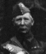 Isaac Luff in 1940s Home Guard picture, wearing medal ribbons.