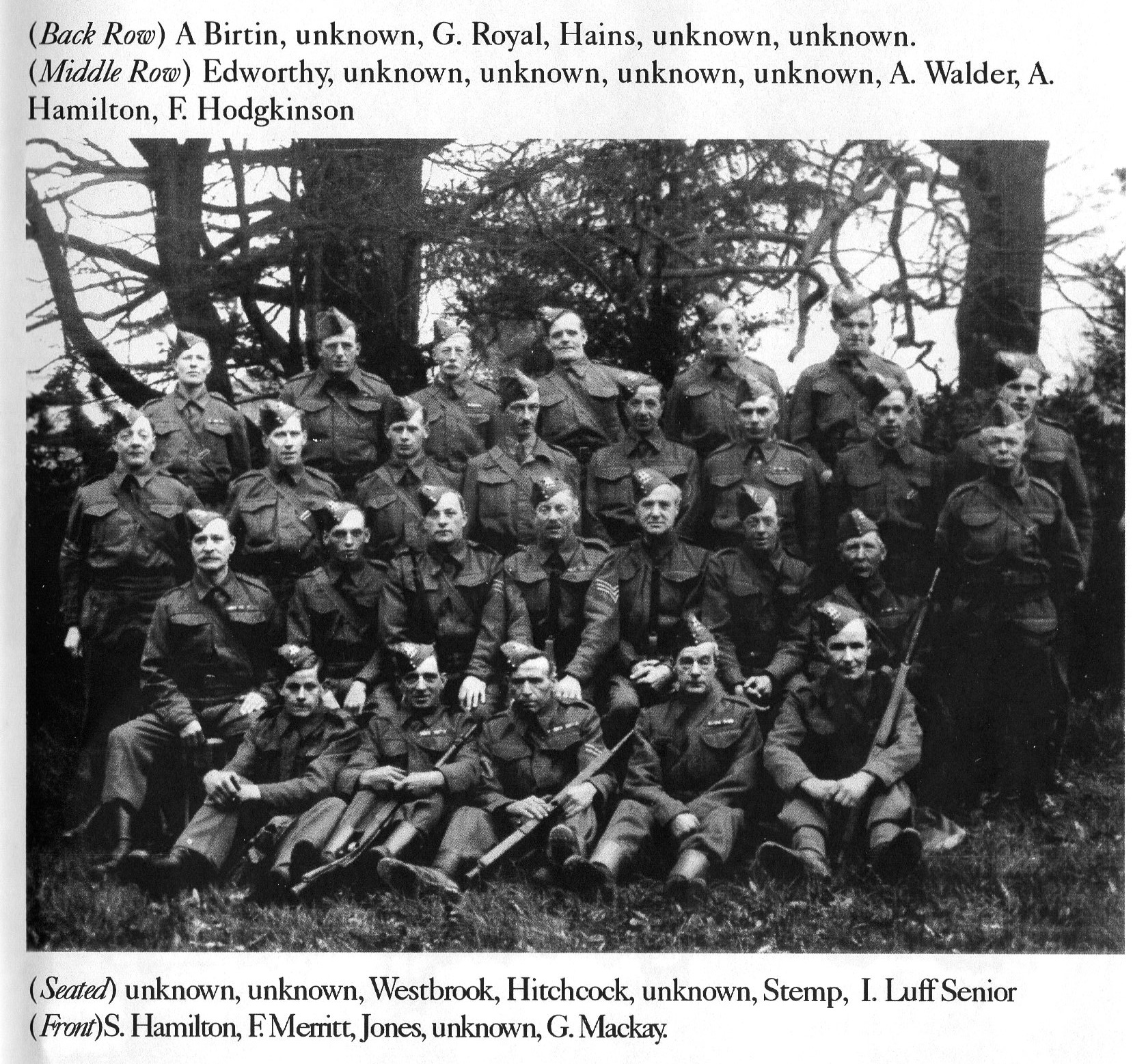 Denbies Home Guard in the 1940s (Ranmore Archive)