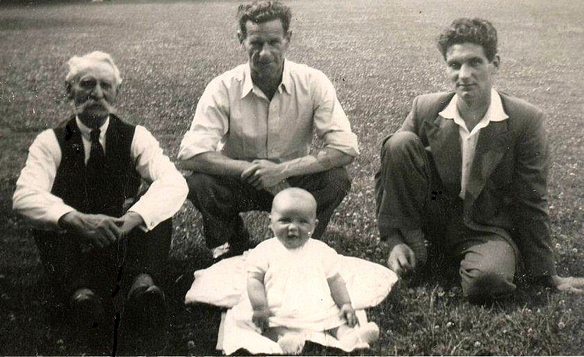 Philip Frederick Bradley (1870-1963) (left) in 1950 with his son Alfred Charles (1906-83), grandson Ronald Charles (1929) and great-grandson Christopher Charles (1951), photograph courtesy Pauline Bennett nee Bradley,