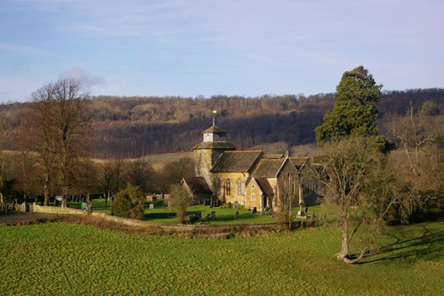 The isolated church of St John the Evangelist, Wotton, photograph Ian Capper, Geograph (link and check wording