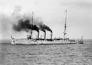 HMS Encounter, launched in Devonport in 1902, transferred to Royal Australian Navy 1912, the first RAN ship to fire in anger during WW1