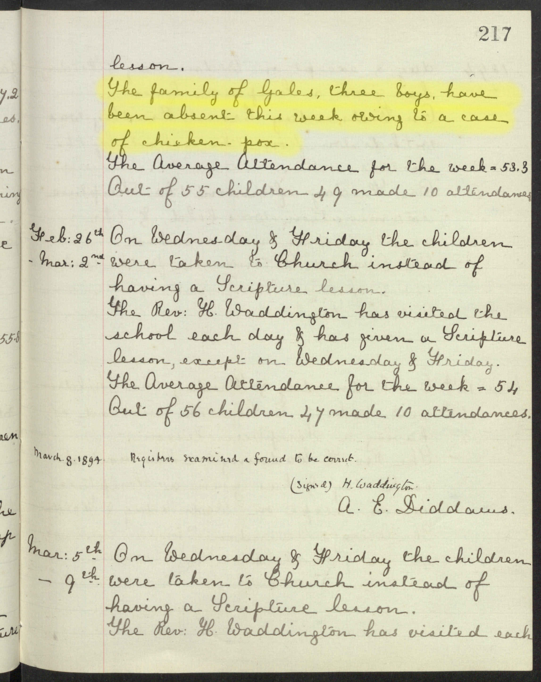 Entry in St Barnabas school logbook for the week February19th - 23rd, 1894, ....credit ? Surrey History