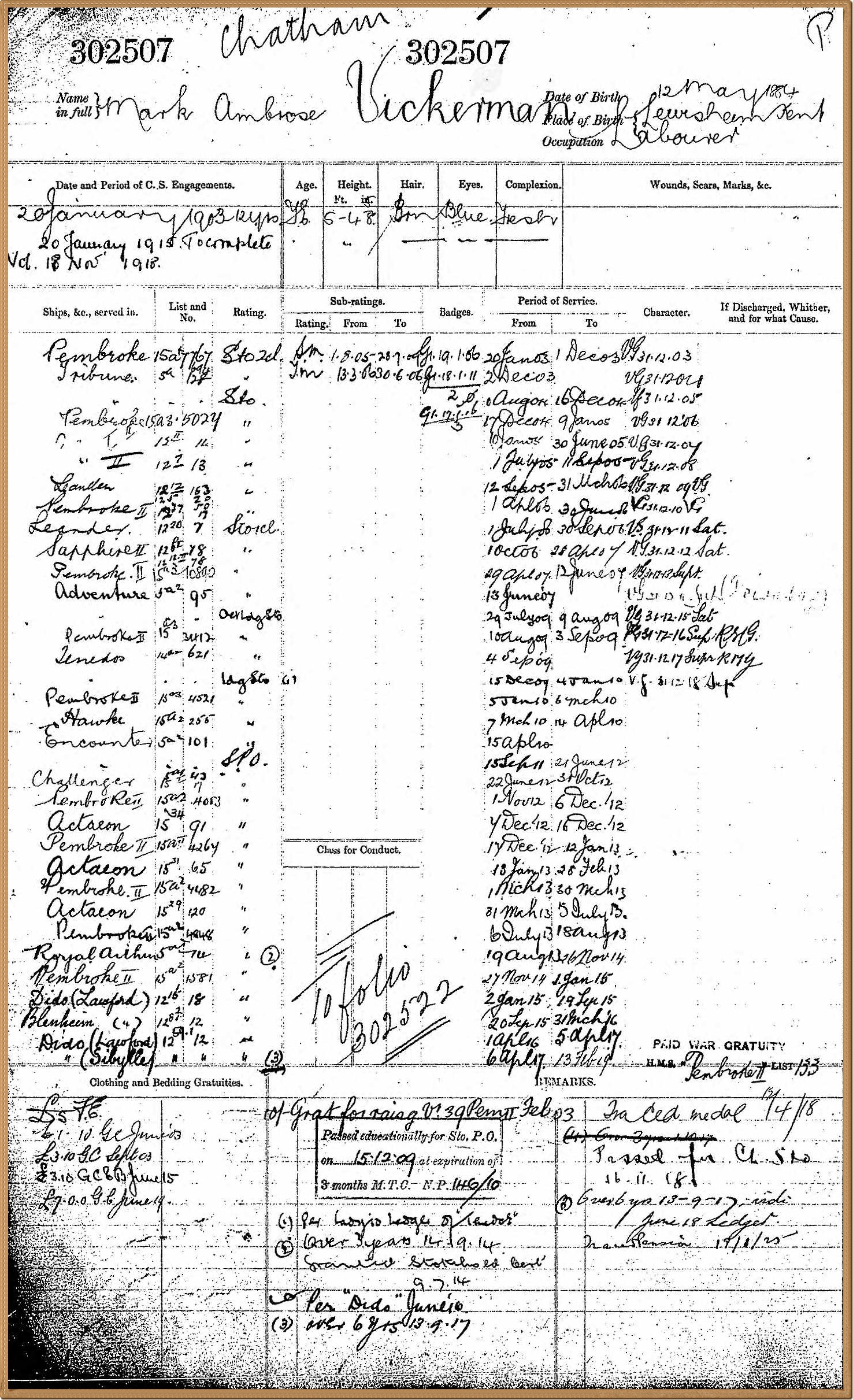 Mark Vickerman's naval record from 1903 to 1919, The National Archives, Kew (? via Ancestry)