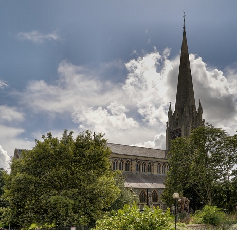 St Martin's Dorking, where Elizabeth Martha was baptised and married (Geograph, copyright