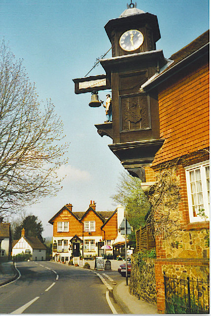 """The village of Abinger Hammer, with the """"Abinger Arms"""" in the background,"""