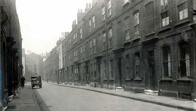 A later photograph of Princes Street, Rotherhithe, probably looking much the same as when the Hulls lived there. The street was renamed Mayflower Street in 1937 and the houses are now demolished (Ideal Homes: A History of South-East London Suburbs)