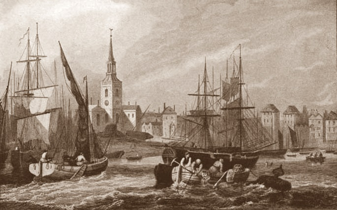 Shipping in the Pool of London, with St Mary's Rotherhithe right by the river,