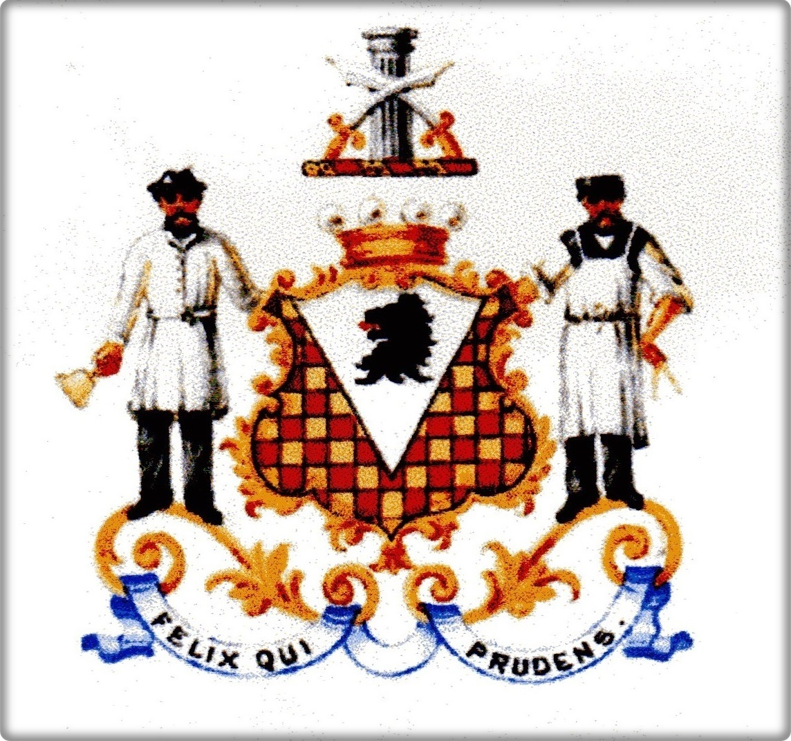 """The supporters of George's coat of arms echoed the family building business: """"Supporters: Dexter a Stonemason proper habited in Brown coat, a hat, apron argent in right hand a mallet sable; Sinister a Carpenter proper habited in Brown vest, apron argent in his left hand a pair of compasses or."""""""