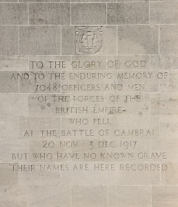 The inscription on the Cambrai Momument, Photo by Andy Bailey