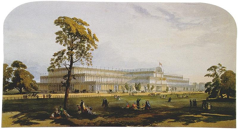 Joseph Paxton's Crystal Palace, erected in Hyde Park for the Great Exhibition of 1851. for which Sophia's husband Edgar was secretary to the Royal Commission.