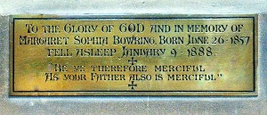 The plaque in St Barnabas commemorating Margaret Sophia Bowring (Brian Belton)