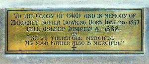 The plaque in St Barnabas commemorating Margaret Sophia Bowring (Brian Belton)