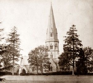 St Barnabas seen from the south, as it would have been as the Family and their servants walked to church from Denbies Mansion