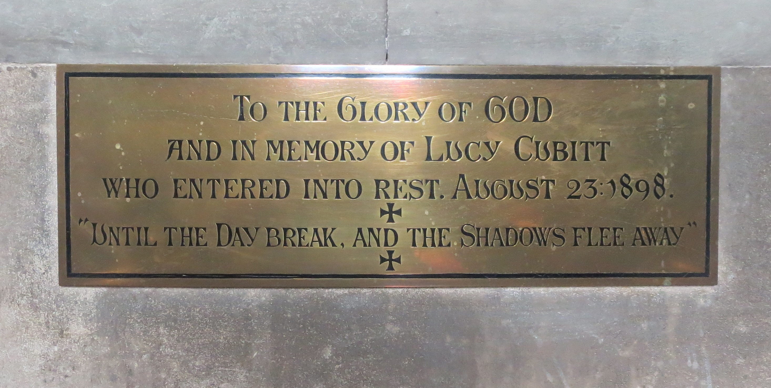 Memorial to Lucy Cubitt in St Barnabas Church, Ranmore Common