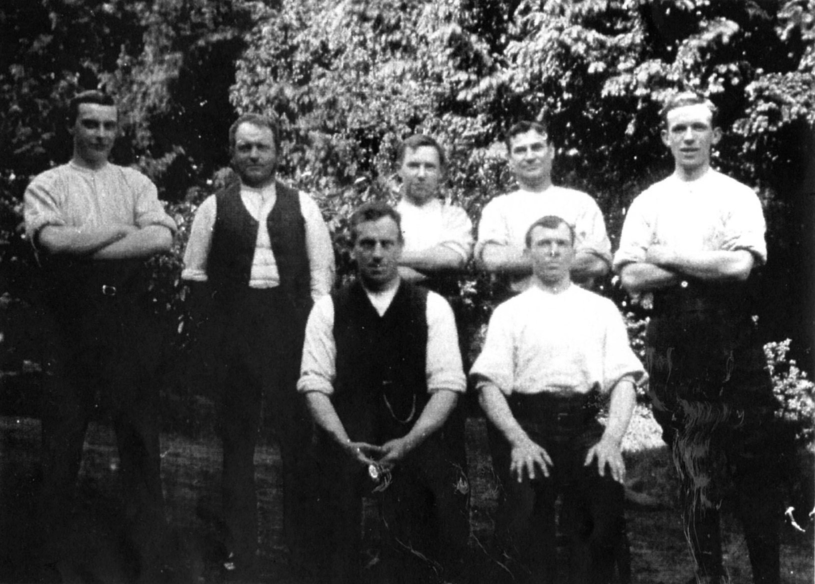 """Woodmen in the 1910s-20, not yet identified, though captioned """"Frank Munt, Harrold, Charles, Sam Sheppard, Alf"""""""