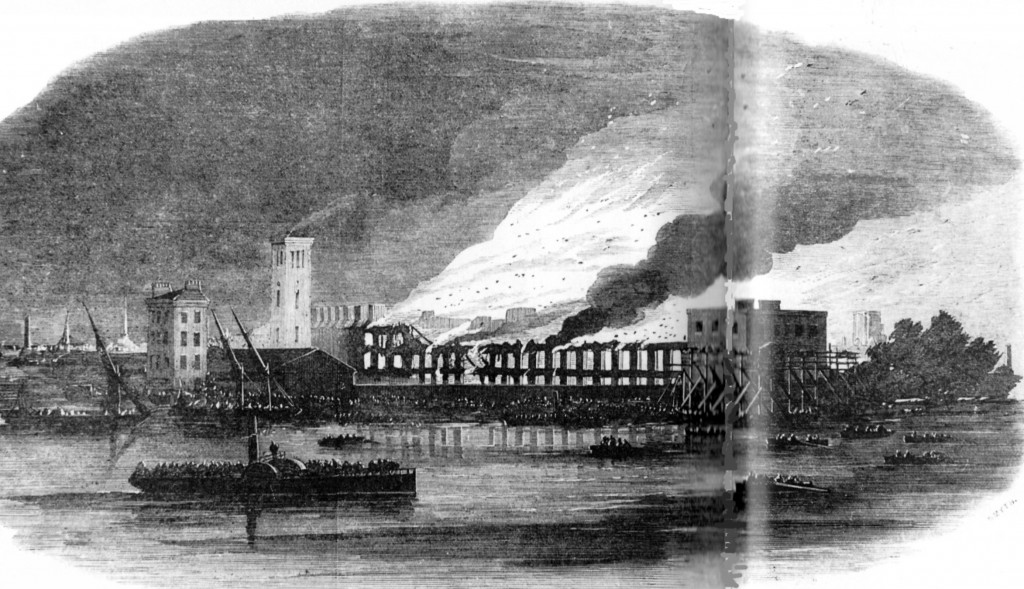 Cubitt's works at Thames Bank in flames ..., Illustrated London News, August
